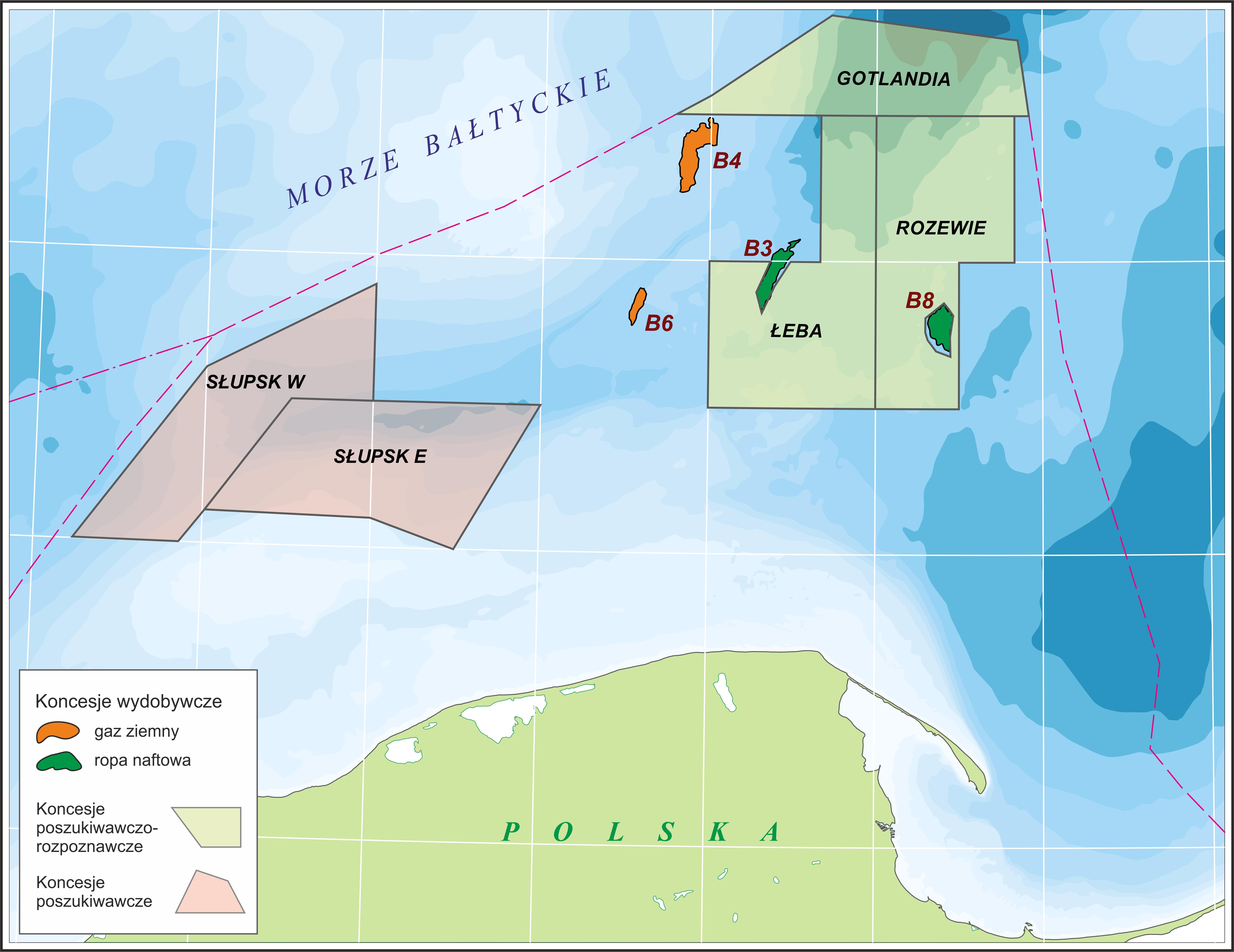 Mapka licencji na poszukiwania i wydobycie węglowodorów na Bałtyku LOTOS Petrobaltic